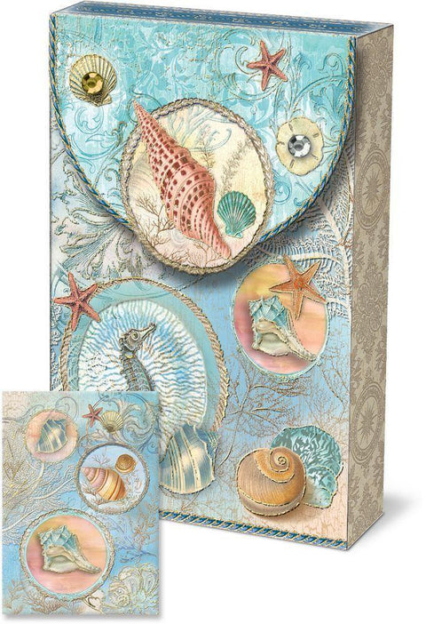 Romantic Pouch Note Cards - Sea Shells - Roses And Teacups