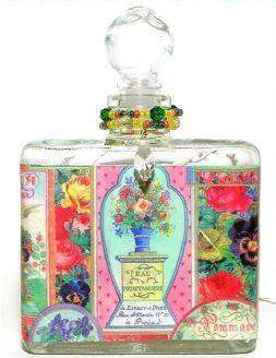 Rose Bouquet Perfume Bottle Nightlight ( Night Light ) - Roses And Teacups