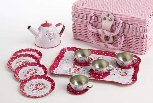 Rose Dot Childrens Tin Teaset FREE tea! 15pc Tea Set for Little Girls in a Pink Wicker Style Basket-Roses And Teacups