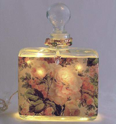 Rose Morning Perfume Bottle Nightlight ( Night Light ) - Roses And Teacups