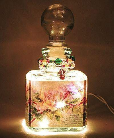 Rose Whisper Perfume Bottle Nightlight ( Night Light ) - Roses And Teacups