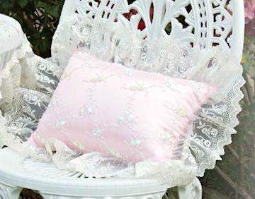 Roses and Pearls Ivory Pink Pillow - Roses And Teacups