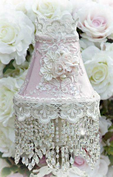Roses and Pearls Small Beaded Victorian Lampshade - Roses And Teacups