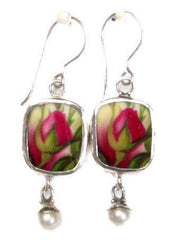 Royal Albert Old Country Roses Sterling Silver Broken China Pearl Jewelry Earrings Buds - Roses And Teacups