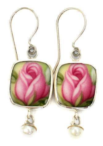 Royal Albert Old Country Roses Sterling Silver Broken China Pearl Jewelry Earrings Pink - Roses And Teacups