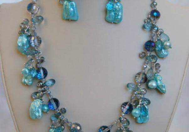 Royal Turquoise Freshwater Pearl Necklace and Earring Set F141 - Roses And Teacups