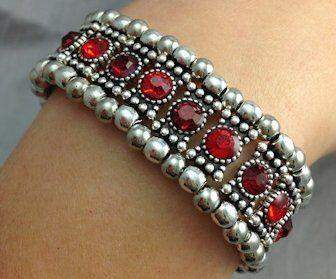 Ruby Crystal Stretch Bracelet - Roses And Teacups