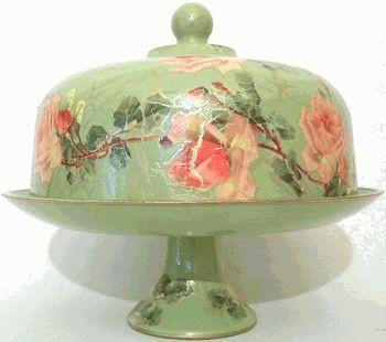 Sage with Rose Domed Pedestal Cake Plate - Roses And Teacups