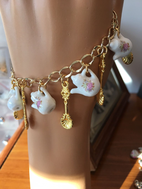 Sanna Tea Cup and Gold Tone Sugar Spoons Charm Tea Bracelet-Roses And Teacups