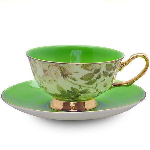 Satin Shelley Bone China Teacup (Tea Cup) and Saucer Green - Roses And Teacups