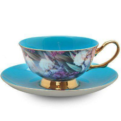 Satin Shelley Bone China Teacup (Tea Cup) Turquoise - Roses And Teacups