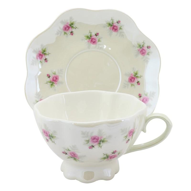 Satin Shelley Petite Rosebuds on Mint Set of 2 Teacups (Tea Cups) and Saucers - Roses And Teacups