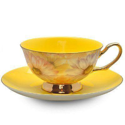 Satin Shelly Bone China Teacup Yellow - Limited Supply - Roses And Teacups