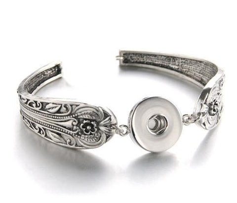 Scroll Snap Jewel Spoon Bracelet with 6 Jewels-Roses And Teacups