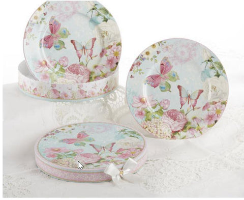 Set of 2 Porcelain Butterfly Dessert Plates in Gift Box - Roses And Teacups