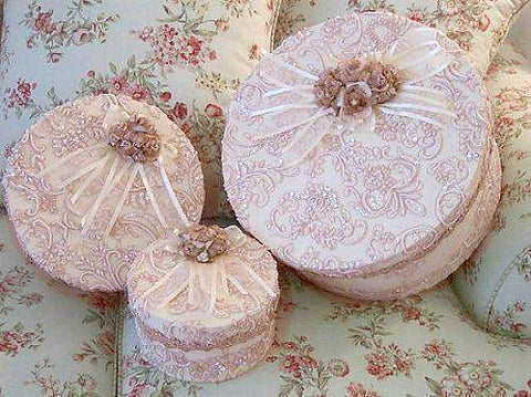 Set of 3 Beaded Lace Boxes - Roses And Teacups