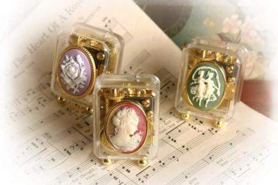 Set of 3 Cameo Music Boxes-Roses And Teacups