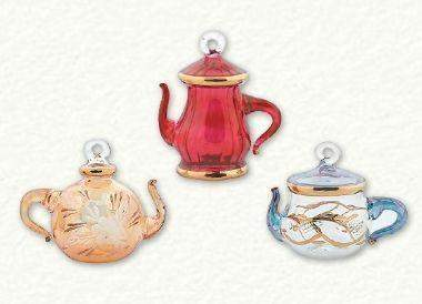 Set of 3 Handcrafted Egyptian Glass Teapot Ornaments - Roses And Teacups