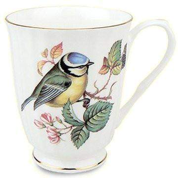 Set of 4 Blue Bird 12 oz. Mugs Fine Bone China with Gold Trim - Roses And Teacups