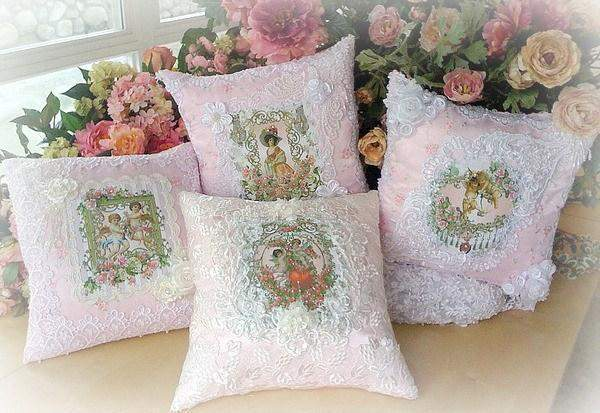 Set of 4 Crystal Roses Victorian Pillows - Roses And Teacups