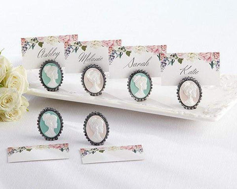 Set of 6 Cameo Place Card Holders with Floral Place Cards - Roses And Teacups