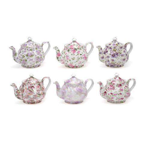 Set of 6 Floral Chintz Discount Teapots-Roses And Teacups
