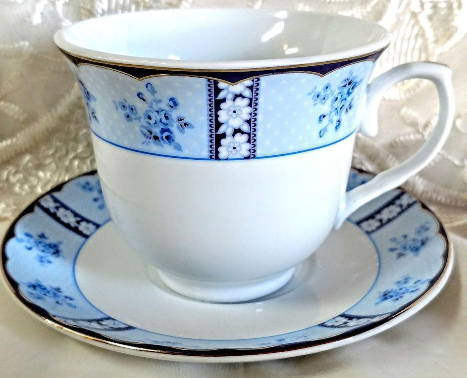 Set of 6 Royal Blue Rose Dot Wholesale Tea Cups and Saucers in Gift Box - Roses And Teacups