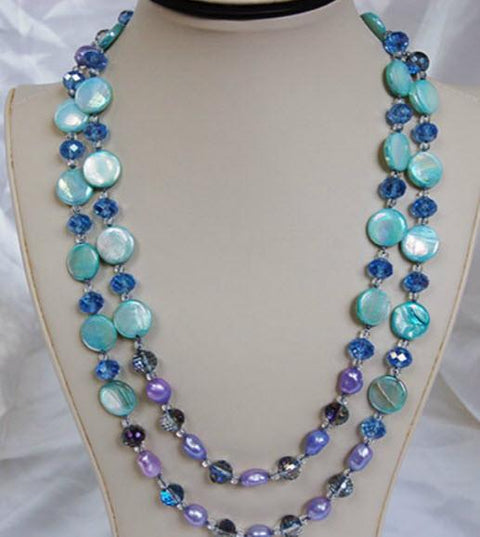 Shell Seeker Pearl Necklace F220-Roses And Teacups