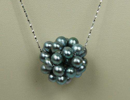 Silver Gray Pearl Cluster Necklace P054 - Roses And Teacups