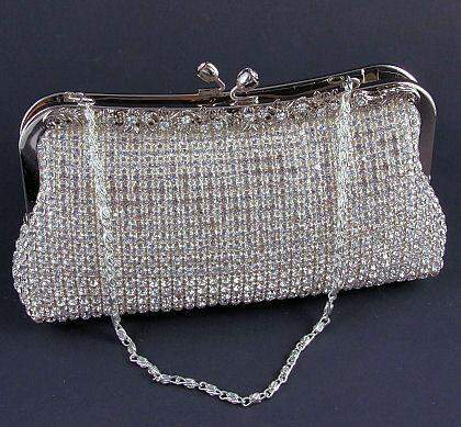 Silver Satin Clutch Purse with Austrian Rhinestones - Roses And Teacups