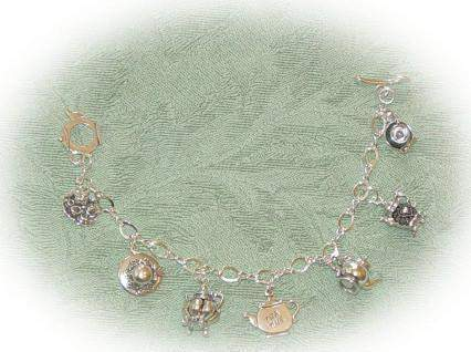 Silver Tea Party Charm Bracelet - Roses And Teacups