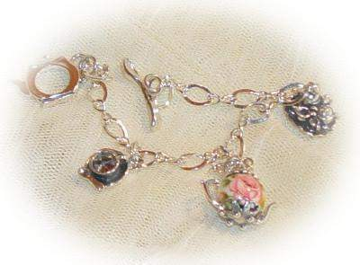 Silver Tea Time Charm Bracelet with Teapot Toggle Clasp - Roses And Teacups
