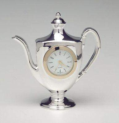 Silver Teapot Clock Kettle - Roses And Teacups