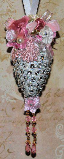 Silver Teardrop Victorian Ornament 8 inches long Beaded w Glass - Roses And Teacups