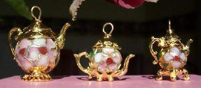 Small Gold Vermeille Cloisonne Teapot Charm - Roses And Teacups