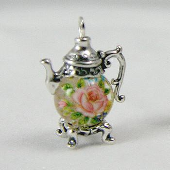 Small Pink Rose on Clear Sterling Silver  Teapot Charm - Roses And Teacups