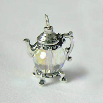 Small Sterling Silver and Clear Crystal  Teapot Charm - Roses And Teacups