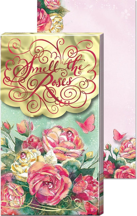 Smell The Roses Inspirational Large Pocket Notepad - Roses And Teacups