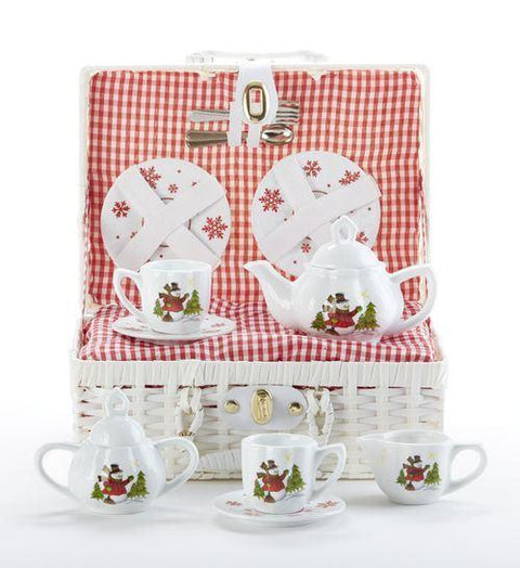 Snowman Holiday Christmas Children Tea Set - FREE TEA INCLUDED! - Roses And Teacups