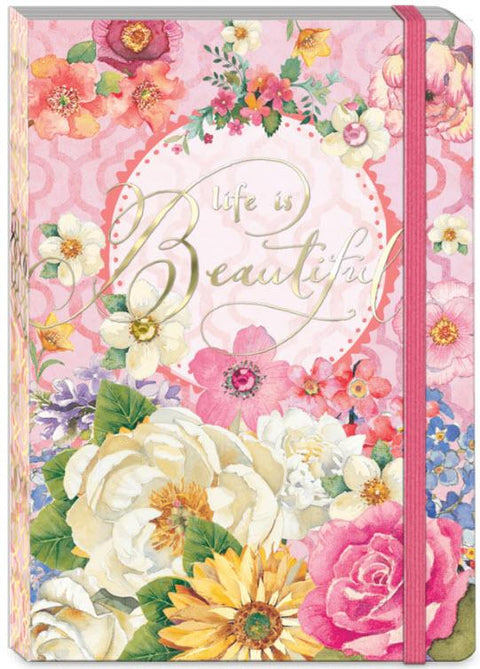 Soft Cover Bungee Journal - Life Is Beautiful - Roses And Teacups