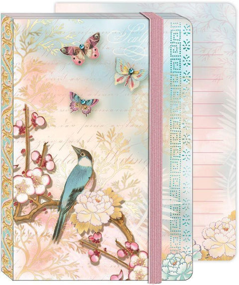 Soft Cover Bungee Journal - Pastel Bird & Butterflies - Roses And Teacups