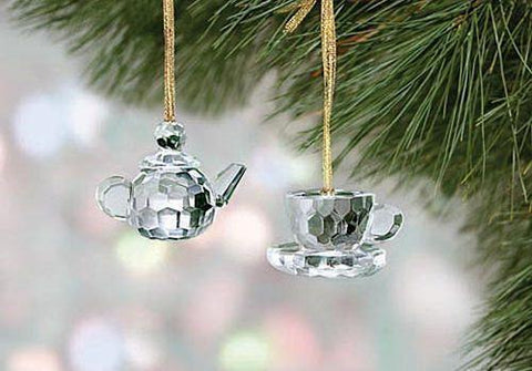 Sparkling Crystal Teapot & Teacup Ornaments - Only 2 Available! - Roses And Teacups