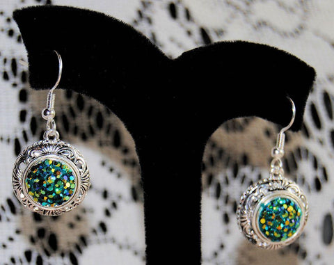 Sparkling Emeralds Filigree Lotti Dotti Interchangeable Magnetic Earrings - Only 1 Available! - Roses And Teacups