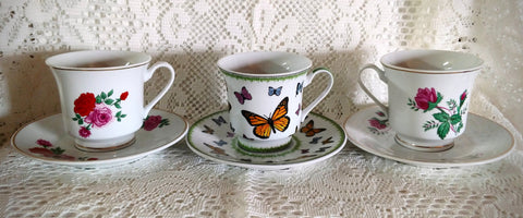 Spring Roses and Butterflies Discount Teacups and Saucers Set of 6 - Add More For FREE Shipping!-Roses And Teacups