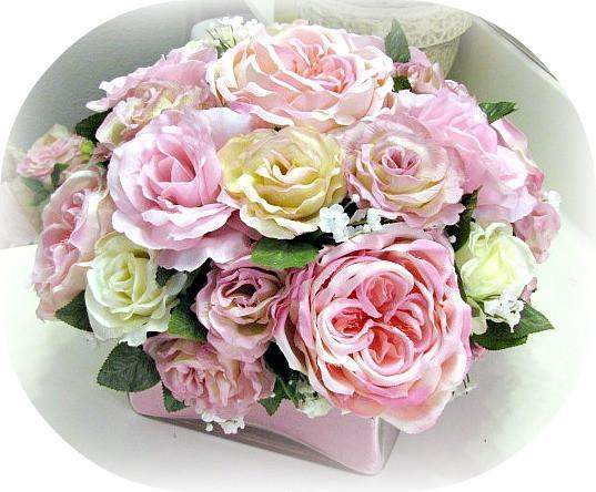 Square Glass Pink Floral Arrangement - Roses And Teacups