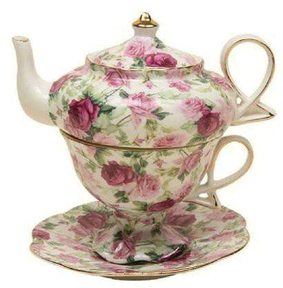 Summer Rose Chintz Porcelain Tea for One Set-Roses And Teacups