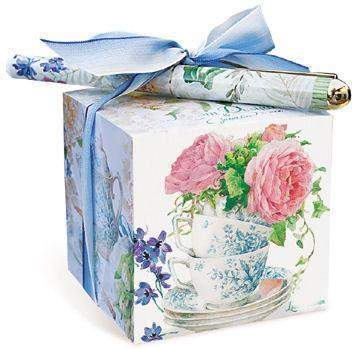 Tea and Rose Garden Paper Note Block with Pen - Roses And Teacups