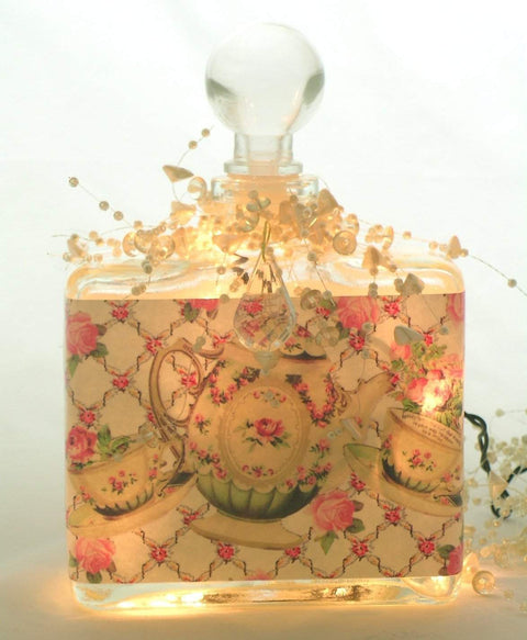 Tea and Roses Perfume Bottle Nightlight  ( Night Light ) - Roses And Teacups