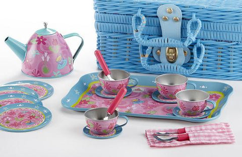Tea Party Childrens Tin Teaset FREE tea! 21pc Tea Set for Little Girls in a Blue Wicker Style Basket-Roses And Teacups