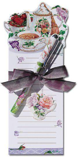 Tea Rose Cottage Magnetic Shopping List Notepad and Pen - Roses And Teacups